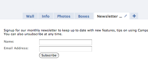 newsletter signup on facebook page