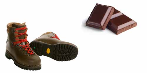 brown in shoes and chocolate