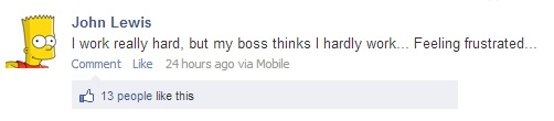 Dont complain about your work on facebook