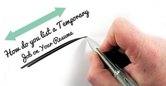 temporary job on resume