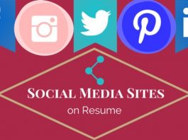 social media sites on resume