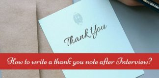 thank you note after interview