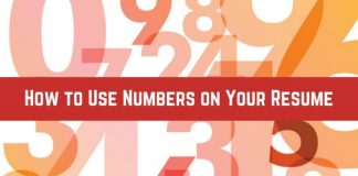 how use numbers on resume