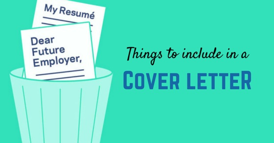things include cover letter