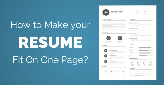 Make Resume Fit One Page