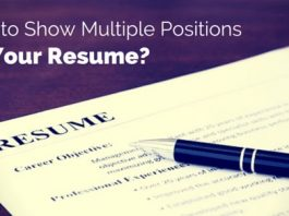 show multiple positions on resume