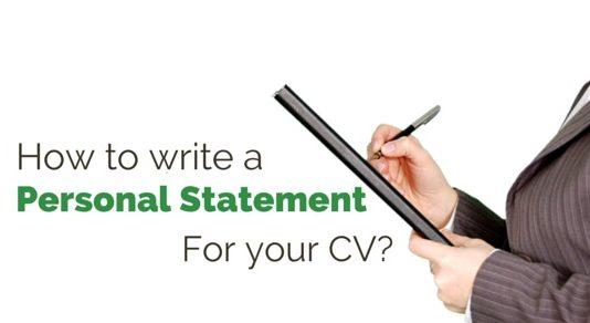 write personal statement cv