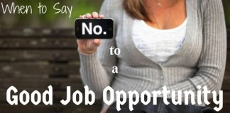 When Say No to Job Opportunity