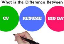 Difference between CV Resume Biodata