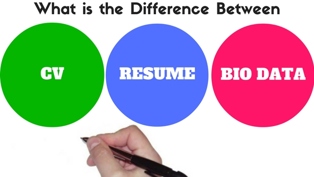 difference between cv resume biodata