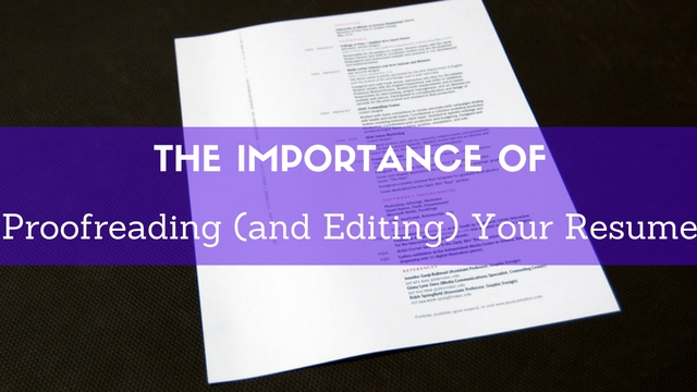 Proofreading Editing Your Resume