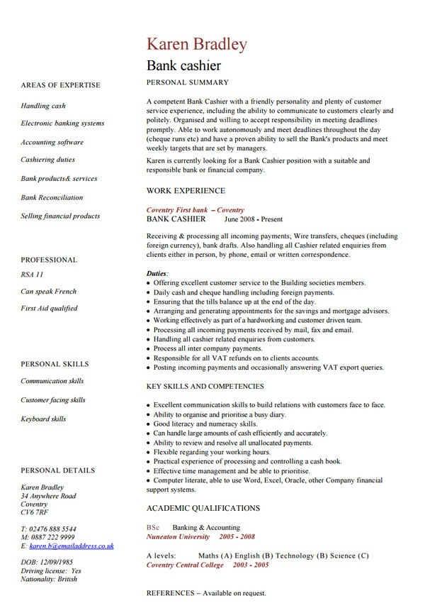 Bank cashier CV sample