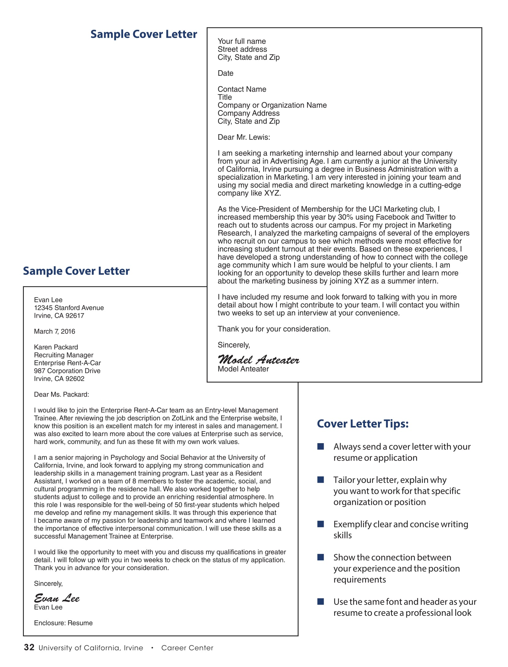 Cover Letter Sample for a Resume