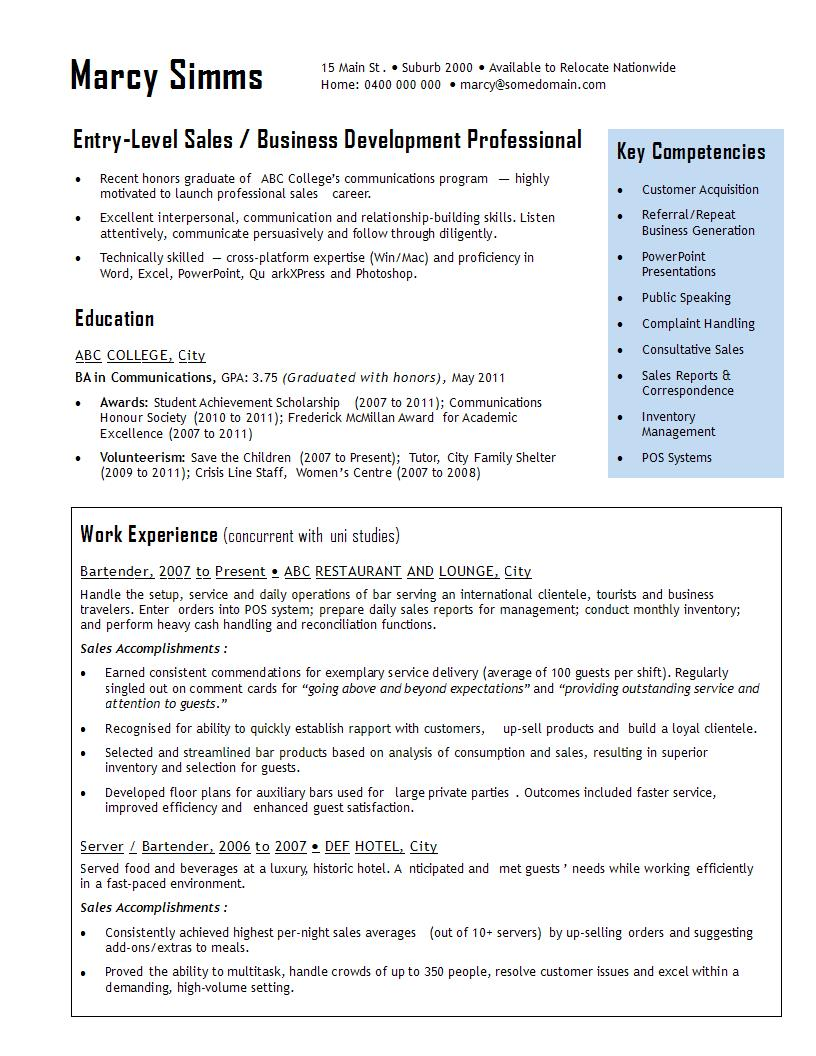 Entry level sales cv