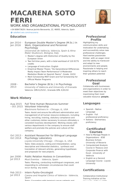 HR internship resume