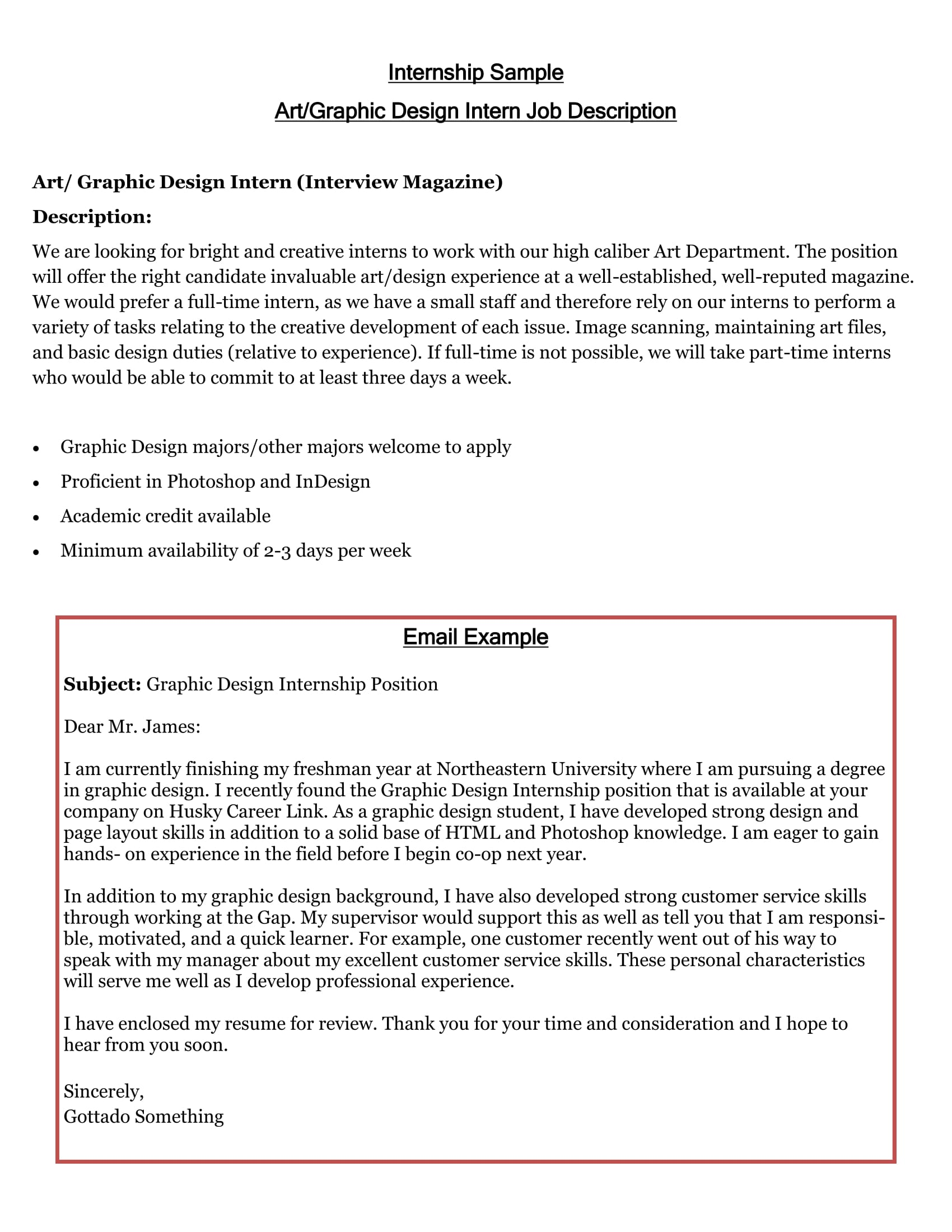 internship cover letter example - Cover Letter Examples For Applying For A Job