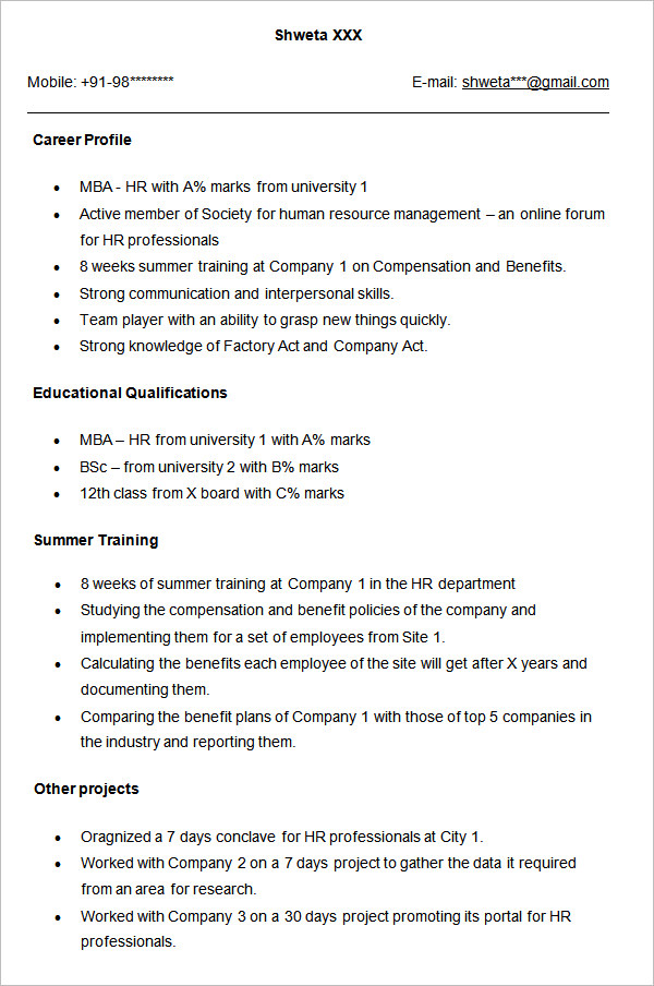 Freshers resume in hr