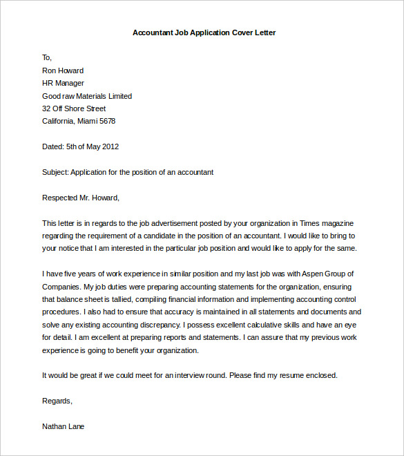 accountant job cover letter download resume template