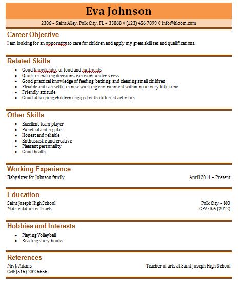 Babysitting resume sample