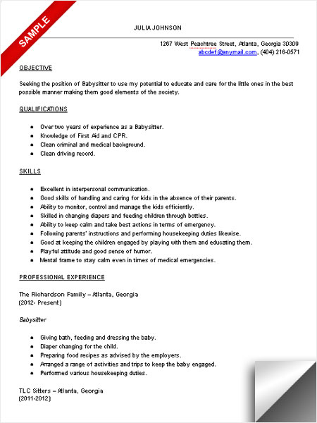 Charming Babysitter Resume Sample Template Regard To Babysitting Resume Templates
