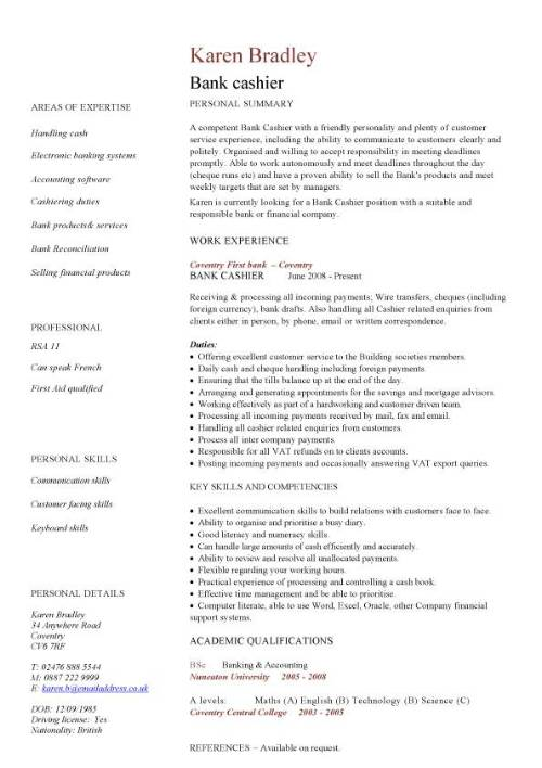 bank cashier resume