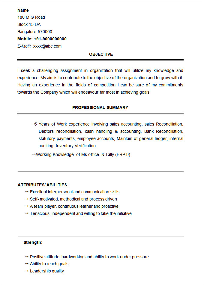 Bcom Graduate Resume Sample