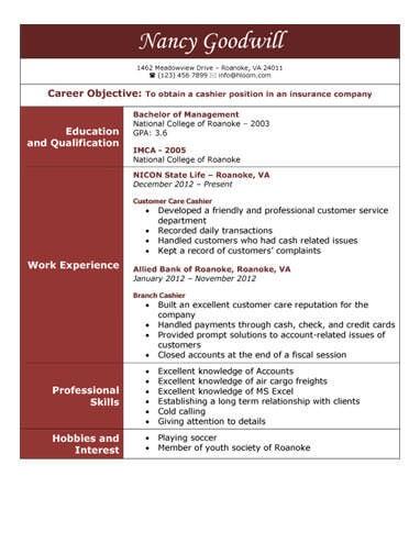best cashier resume