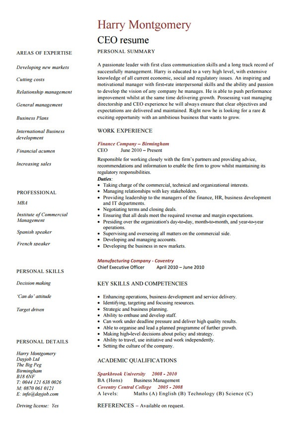 best ceo resume
