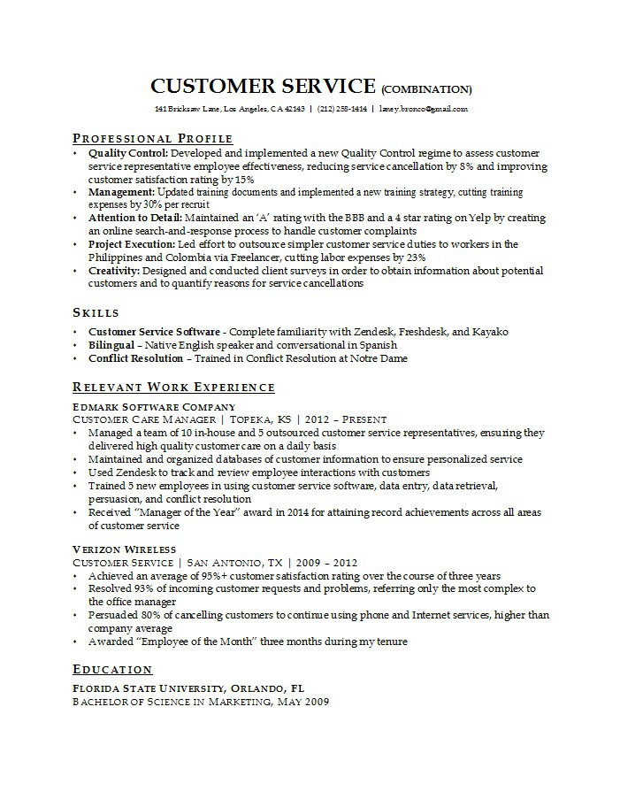 Best Resume Format Customer Service Krys Tk