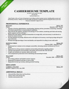 cashier resume template