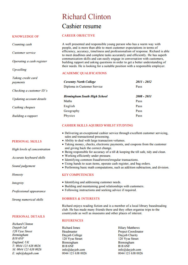 Cashier Resume Templates Free:  Resume For No Experience