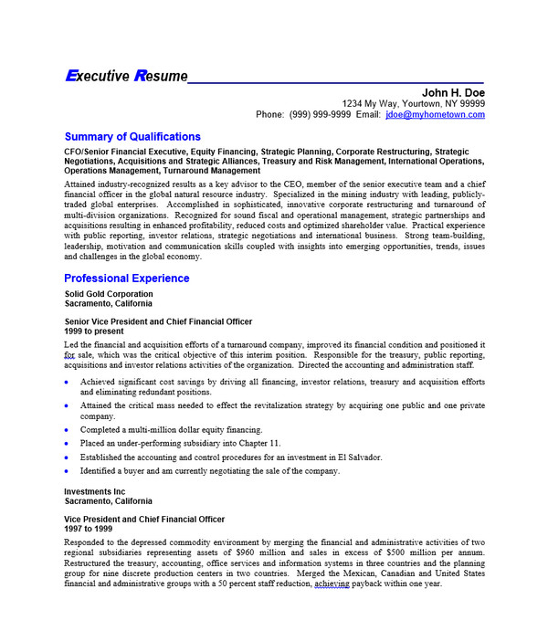 CEO Resume Sample Doc:  Sample Ceo Resume