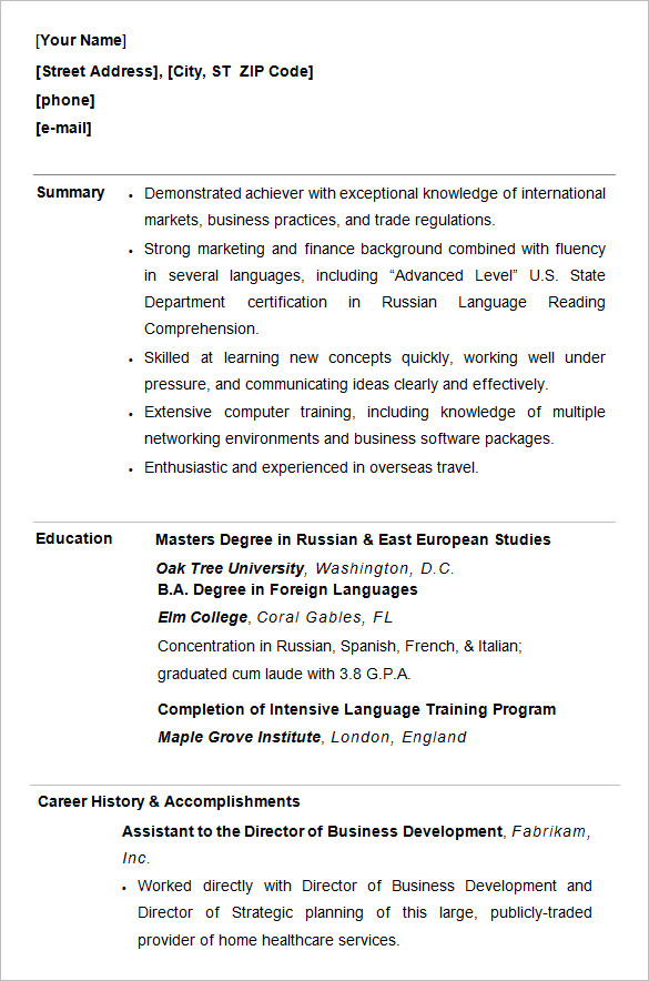High Quality College Professional Resume. Download Free Resume Template