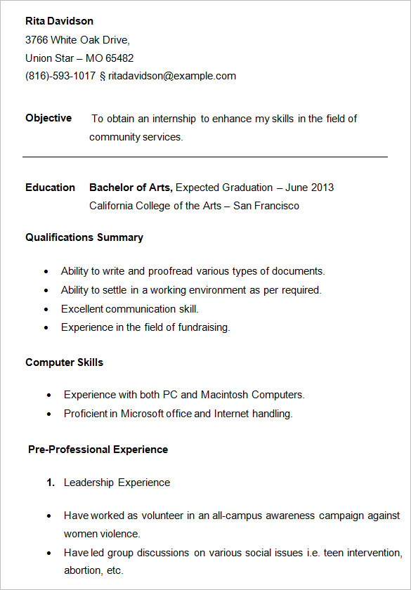 Superior College Student Resume Template