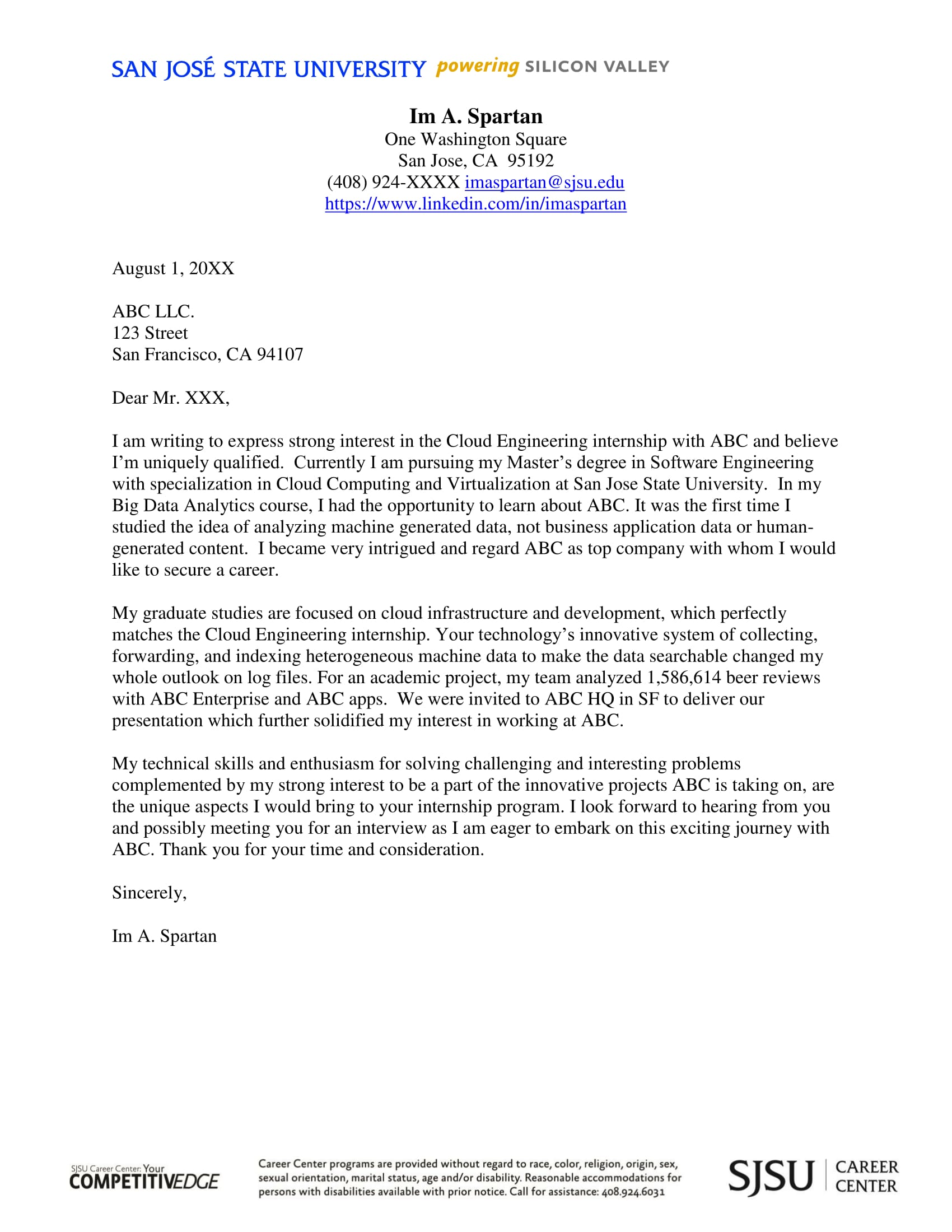 example of cover letter for internship example of cover letter for