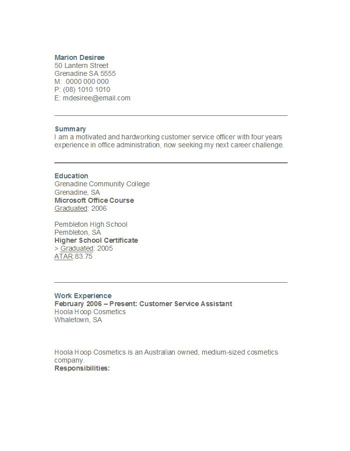 customer service resume samples free - Customer Service Resume Sample Free