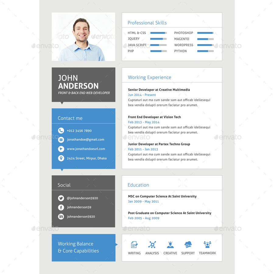 cv for web developer download resume template - Developer Resume Template