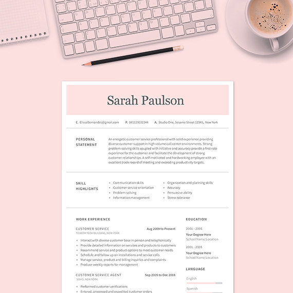 cv format for customer service executive
