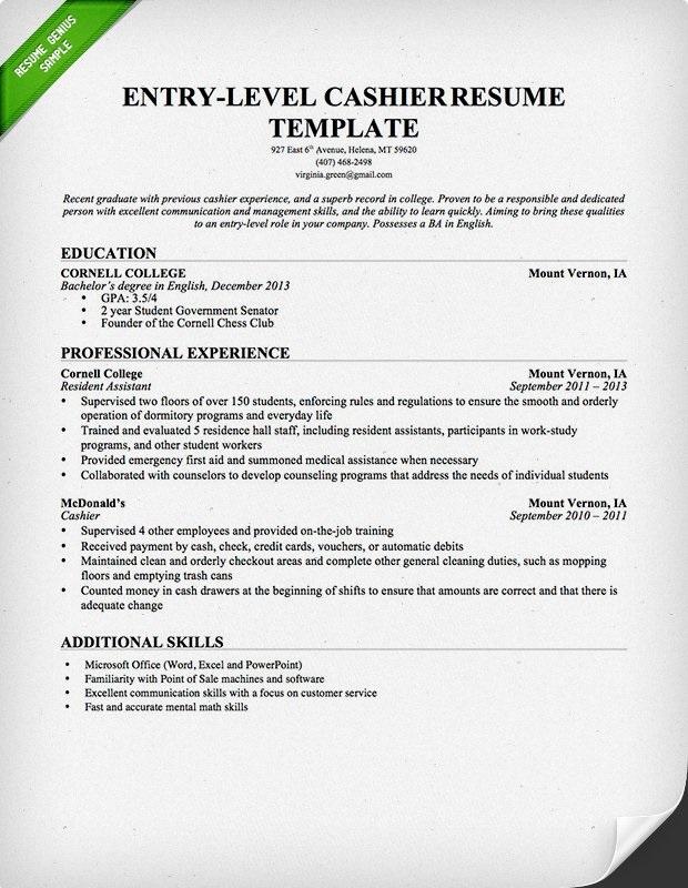 Cashier restaurant job description resume