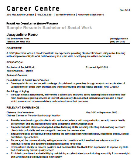 entry level social worker resume - Social Work Resume