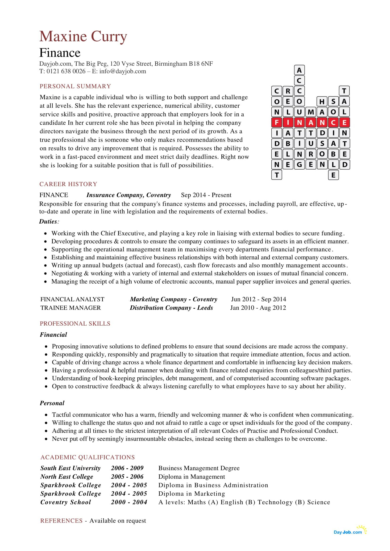Legislative analyst sample resume