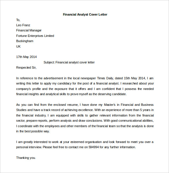 Elegant Financial Analyst Cover Letter Template