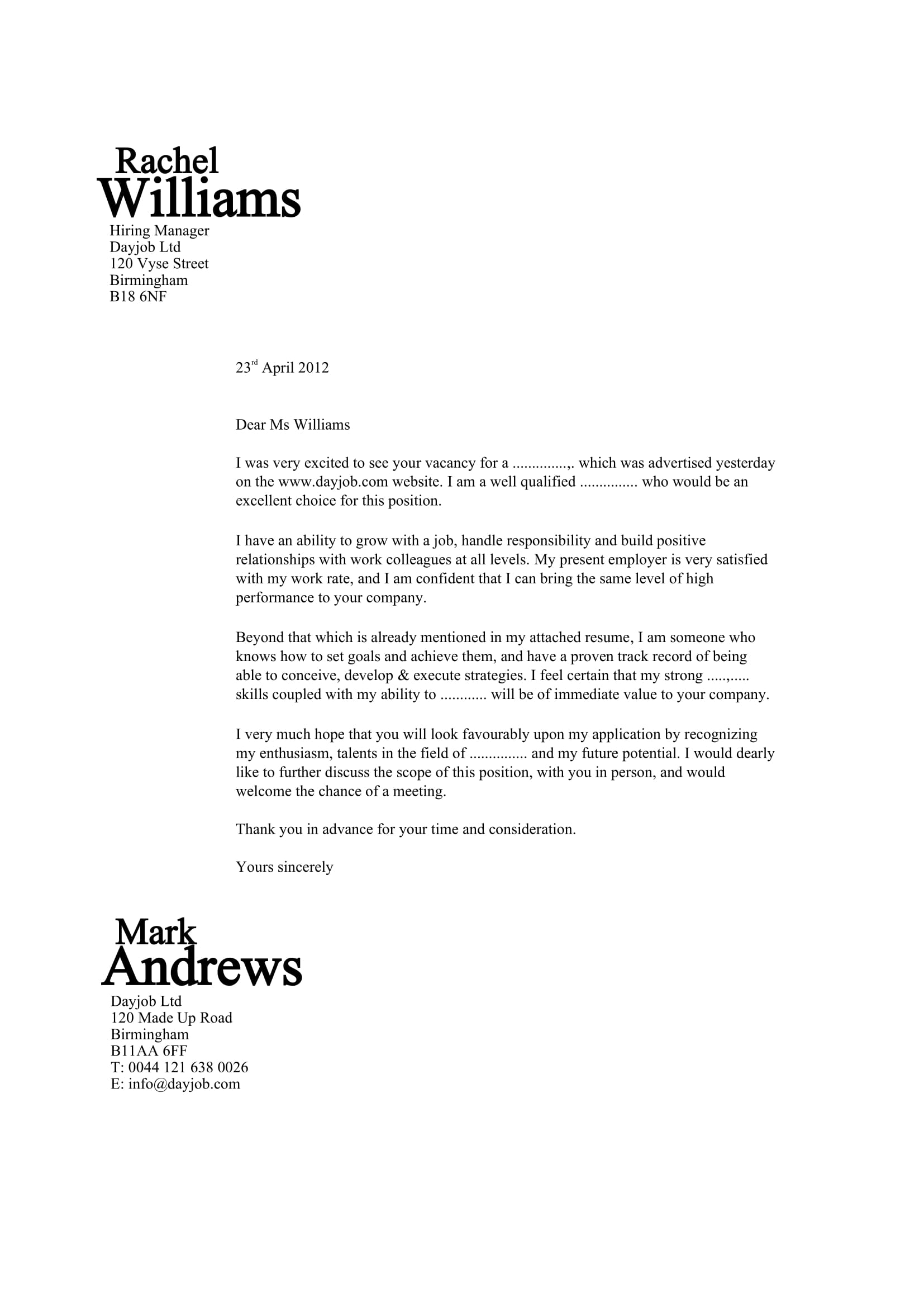 cover letter format sample