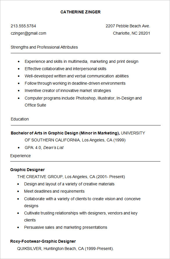 graphic design student resume template