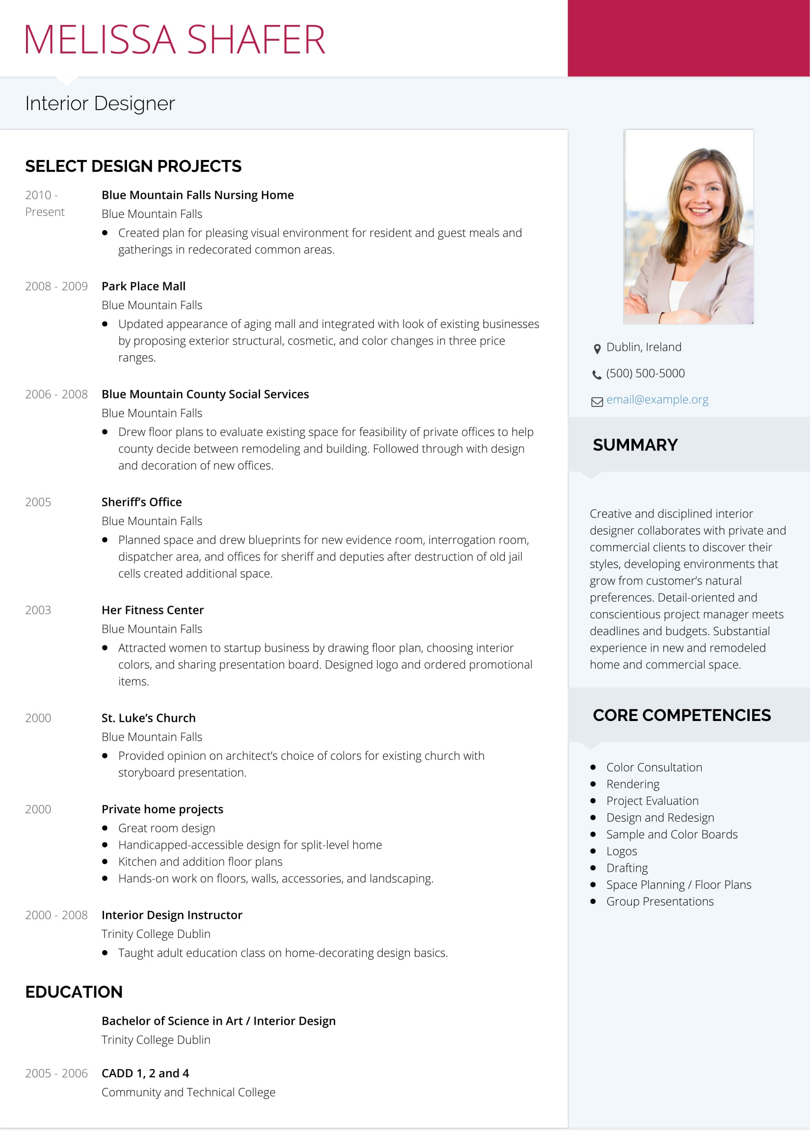 Interior Design Resume Example