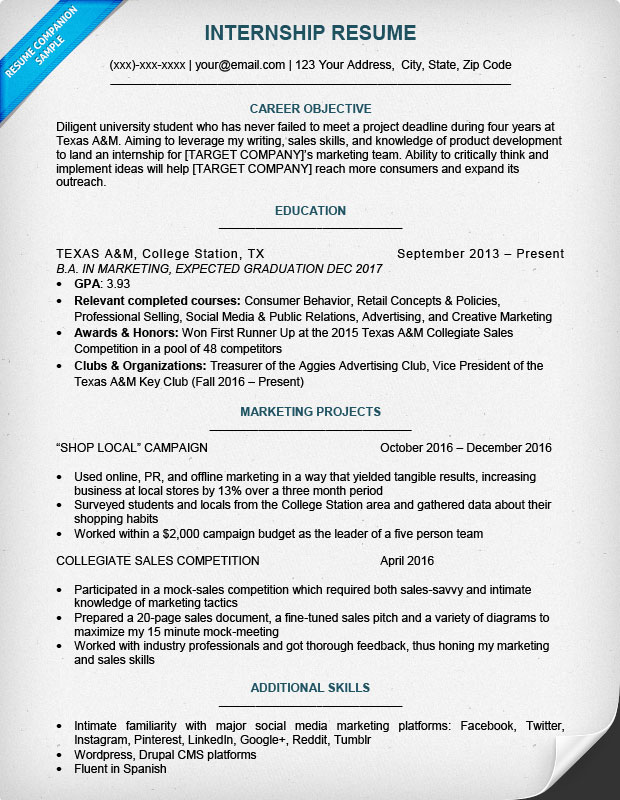 Internship Resume Template Mentionedappeared Gq