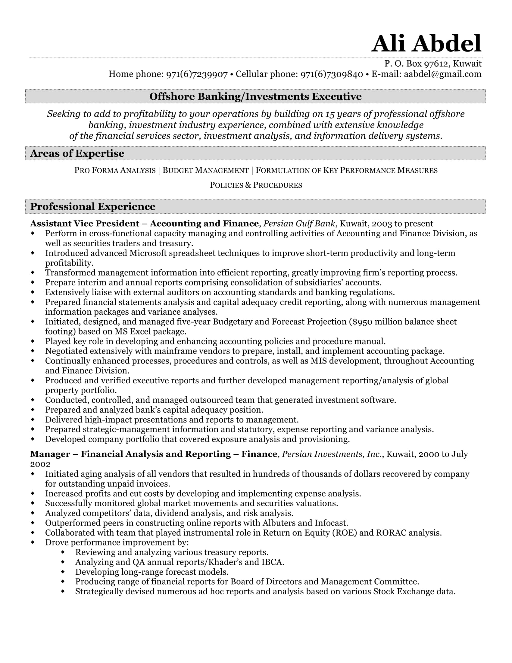 investment resume
