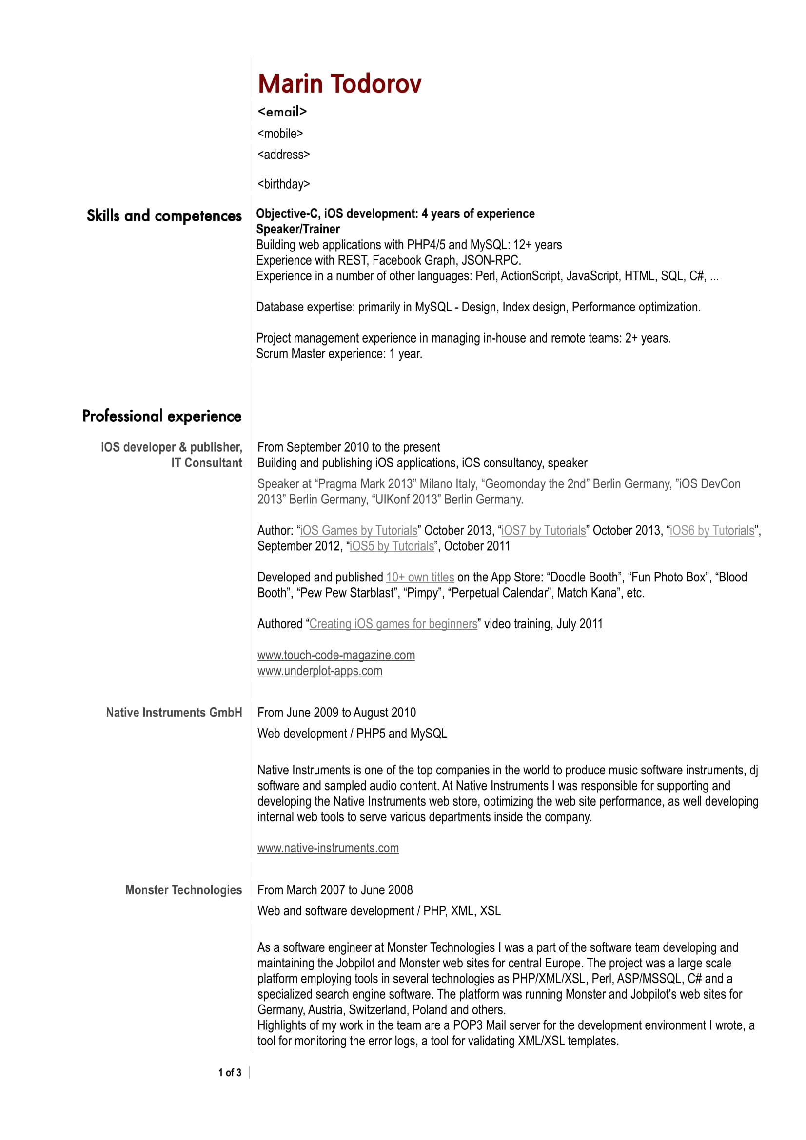 ios developer resume sample