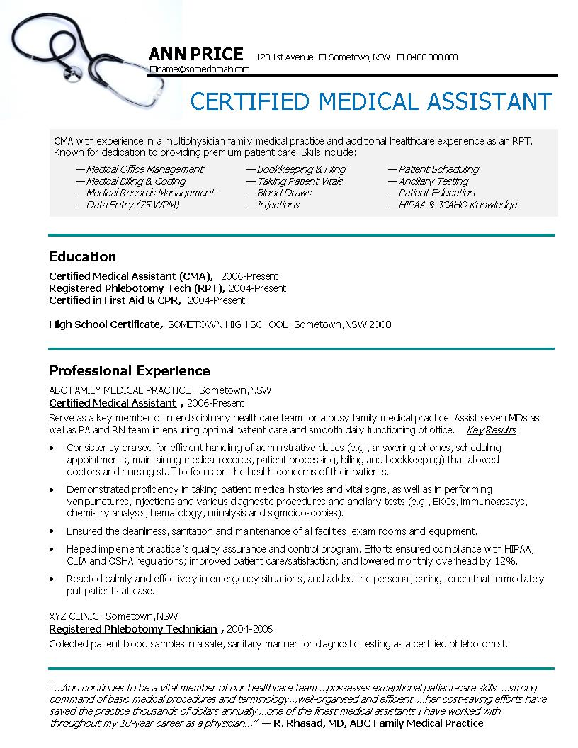 24 best medical assistant sample resume templates