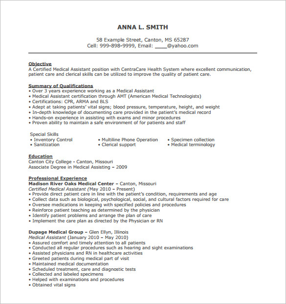 medical support assistant resume - Medical Assistant Objective For Resume